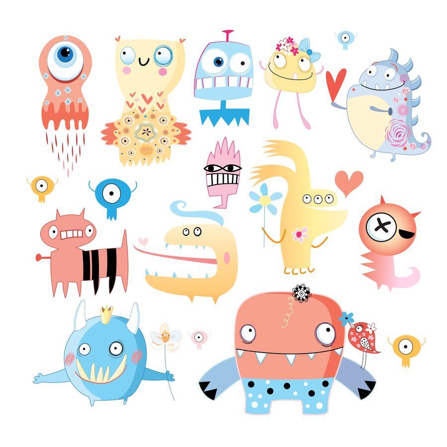 Billedet forestiller et udvalg af monstre