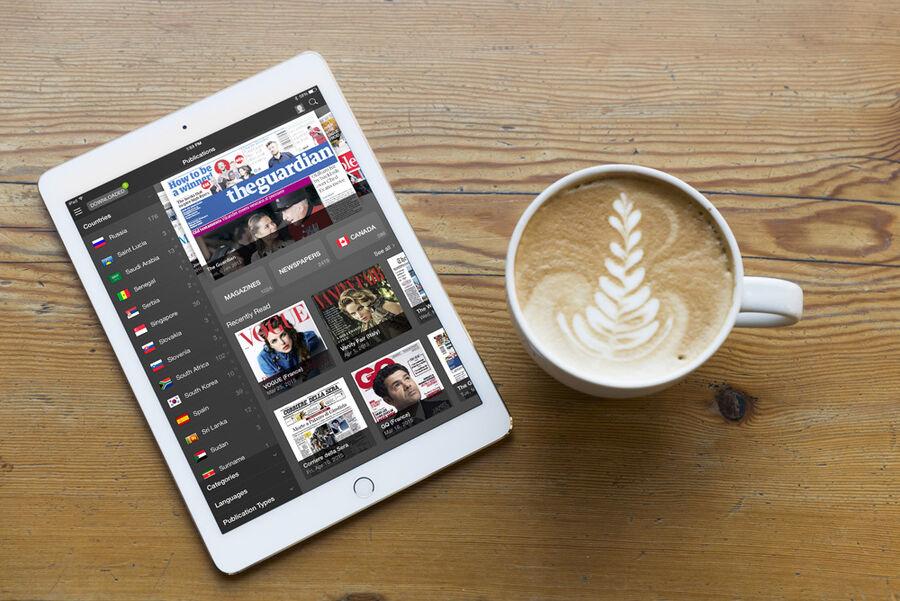 Pressreader tilbyder adgang til en række aviser og magasiner fra hele verden.
