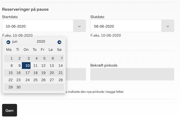 """Billedet viser kalenderen som fremkommer når man er logget ind på hjemmesiden. Under """"Reservationer på pause"""" fremkommer kalenderen, hvor man kan vælge den periode man vil holde pause."""